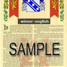 WIMER - ENGLISH - Armorial Name History - Coat of Arms - Family Crest GIFT! 8.5x11