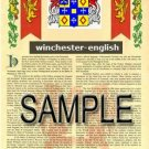 WINCHESTER - ENGLISH - Armorial Name History - Coat of Arms - Family Crest GIFT! 8.5x11