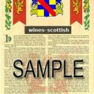 WINES - SCOTTISH - Armorial Name History - Coat of Arms - Family Crest GIFT! 8.5x11