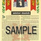 WINTER - DANISH - Armorial Name History - Coat of Arms - Family Crest GIFT! 8.5x11