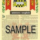 WINTERS - ENGLISH - Armorial Name History - Coat of Arms - Family Crest GIFT! 8.5x11