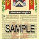 WISEMAN - ENGLISH - Armorial Name History - Coat of Arms - Family Crest GIFT! 8.5x11