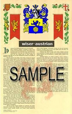 WISER - AUSTRIAN - Armorial Name History - Coat of Arms - Family Crest GIFT! 8.5x11