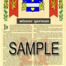 WISNER - GERMAN - Armorial Name History - Coat of Arms - Family Crest GIFT! 8.5x11