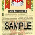 WITCHER - SCOTTISH - Armorial Name History - Coat of Arms - Family Crest GIFT! 8.5x11
