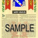 WITT - DUTCH - Armorial Name History - Coat of Arms - Family Crest GIFT! 8.5x11