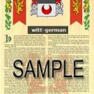 WITT - GERMAN - Armorial Name History - Coat of Arms - Family Crest GIFT! 8.5x11