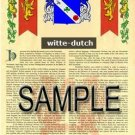 WITTE - DUTCH - Armorial Name History - Coat of Arms - Family Crest GIFT! 8.5x11