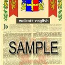 WOLCOTT - ENGLISH - Armorial Name History - Coat of Arms - Family Crest GIFT! 8.5x11