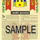 WOLFE - GERMAN - Armorial Name History - Coat of Arms - Family Crest GIFT! 8.5x11