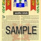 WOLFE - IRISH - Armorial Name History - Coat of Arms - Family Crest GIFT! 8.5x11
