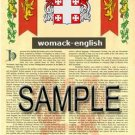 WOMACK - ENGLISH - Armorial Name History - Coat of Arms - Family Crest GIFT! 8.5x11