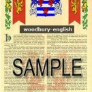 WOODBURY - ENGLISH - Armorial Name History - Coat of Arms - Family Crest GIFT! 8.5x11