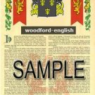 WOODFORD - ENGLISH - Armorial Name History - Coat of Arms - Family Crest GIFT! 8.5x11