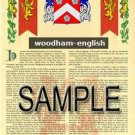 WOODHAM - ENGLISH - Armorial Name History - Coat of Arms - Family Crest GIFT! 8.5x11