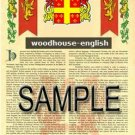 WOODHOUSE - ENGLISH - Armorial Name History - Coat of Arms - Family Crest GIFT! 8.5x11