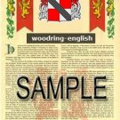 WOODRING - ENGLISH - Armorial Name History - Coat of Arms - Family Crest GIFT! 8.5x11