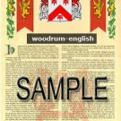 WOODRUM - ENGLISH - Armorial Name History - Coat of Arms - Family Crest GIFT! 8.5x11