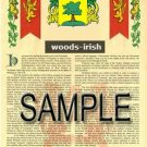 WOODS - IRISH - Armorial Name History - Coat of Arms - Family Crest GIFT! 8.5x11