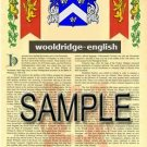 WOOLDRIDGE - ENGLISH - Armorial Name History - Coat of Arms - Family Crest GIFT! 8.5x11