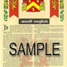 WOOLF - ENGLISH - Armorial Name History - Coat of Arms - Family Crest GIFT! 8.5x11