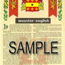 WOOSTER - ENGLISH - Armorial Name History - Coat of Arms - Family Crest GIFT! 8.5x11
