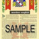 WORDEN - ENGLISH - Armorial Name History - Coat of Arms - Family Crest GIFT! 8.5x11