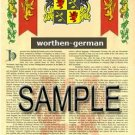 WORTHEN - GERMAN - Armorial Name History - Coat of Arms - Family Crest GIFT! 8.5x11