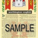 WORTHINGTON - ENGLISH - Armorial Name History - Coat of Arms - Family Crest GIFT! 8.5x11