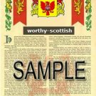 WORTHY - SCOTTISH - Armorial Name History - Coat of Arms - Family Crest GIFT! 8.5x11