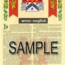 WREN - ENGLISH - Armorial Name History - Coat of Arms - Family Crest GIFT! 8.5x11