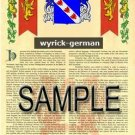 WYRICK - GERMAN - Armorial Name History - Coat of Arms - Family Crest GIFT! 8.5x11
