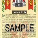 YATES - IRISH - Armorial Name History - Coat of Arms - Family Crest GIFT! 8.5x11