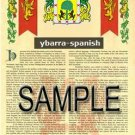 YBARRA - SPANISH - Armorial Name History - Coat of Arms - Family Crest GIFT! 8.5x11