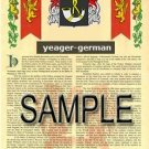 YEAGER - GERMAN - Armorial Name History - Coat of Arms - Family Crest GIFT! 8.5x11