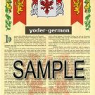 YODER - GERMAN - Armorial Name History - Coat of Arms - Family Crest GIFT! 8.5x11