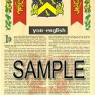 YON - ENGLISH - Armorial Name History - Coat of Arms - Family Crest GIFT! 8.5x11