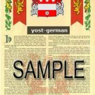 YOST - GERMAN - Armorial Name History - Coat of Arms - Family Crest GIFT! 8.5x11