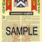YOUMANS - ENGLISH - Armorial Name History - Coat of Arms - Family Crest GIFT! 8.5x11