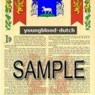 YOUNGBLOOD - DUTCH - Armorial Name History - Coat of Arms - Family Crest GIFT! 8.5x11