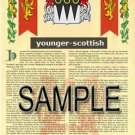 YOUNGER - SCOTTISH - Armorial Name History - Coat of Arms - Family Crest GIFT! 8.5x11