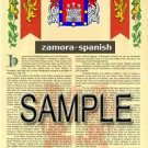 ZAMORA - SPANISH - Armorial Name History - Coat of Arms - Family Crest GIFT! 8.5x11