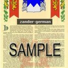ZANDER - GERMAN - Armorial Name History - Coat of Arms - Family Crest GIFT! 8.5x11