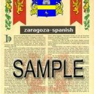 ZARAGOZA - SPANISH - Armorial Name History - Coat of Arms - Family Crest GIFT! 8.5x11