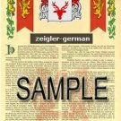 ZEIGLER - GERMAN - Armorial Name History - Coat of Arms - Family Crest GIFT! 8.5x11