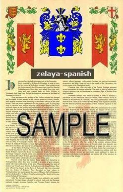 ZELAYA - SPANISH - Armorial Name History - Coat of Arms - Family Crest GIFT! 8.5x11