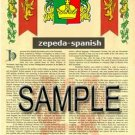 ZEPEDA - SPANISH - Armorial Name History - Coat of Arms - Family Crest GIFT! 8.5x11