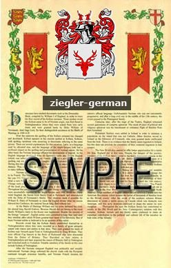 ZIEGLER - GERMAN - Armorial Name History - Coat of Arms - Family Crest GIFT! 8.5x11