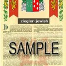 ZIEGLER - JEWISH - Armorial Name History - Coat of Arms - Family Crest GIFT! 8.5x11