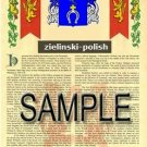 ZIELINSKI - POLISH - Armorial Name History - Coat of Arms - Family Crest GIFT! 8.5x11